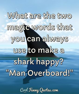 What are the two magic words that you can always use to make a shark happy?