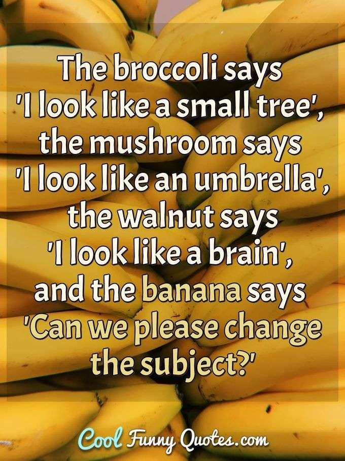 The broccoli says 'I look like a small tree', the mushroom says 'I look like an umbrella', the walnut says 'I look like a brain', and the banana says 'Can we please change the subject?' - Anonymous