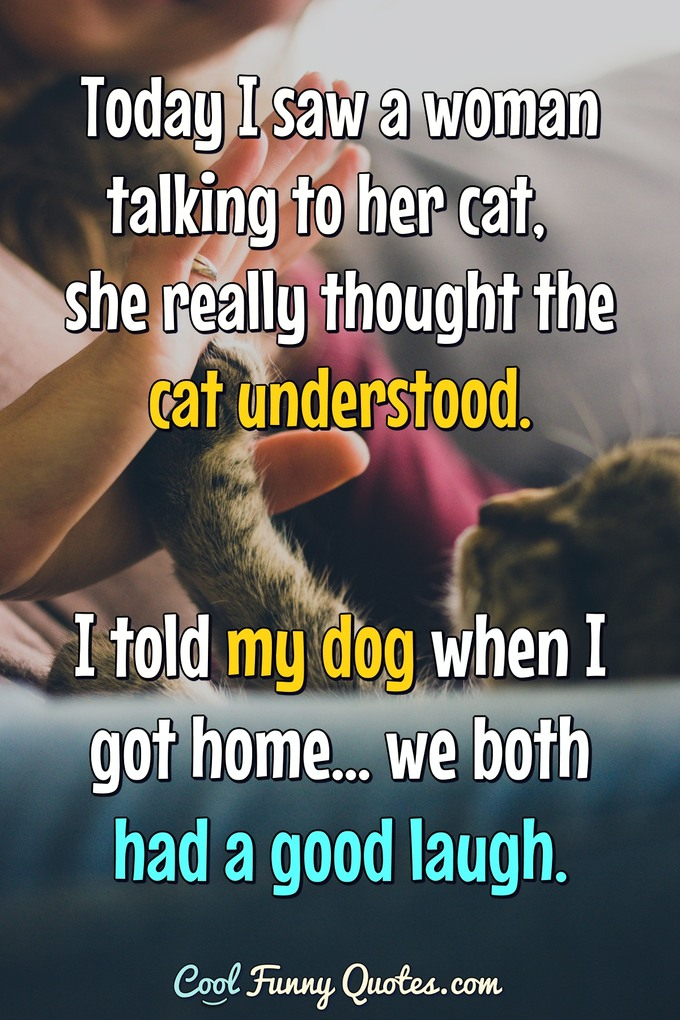 Today I saw a woman talking to her cat, she really thought the cat understood. I told my dog when I got home... we both had a good laugh. - Anonymous