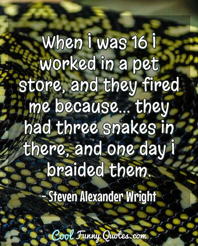 When I was 16 I worked in a pet store, and they fired me because... they had three snakes in there, and one day I braided them. - Steven Alexander Wright