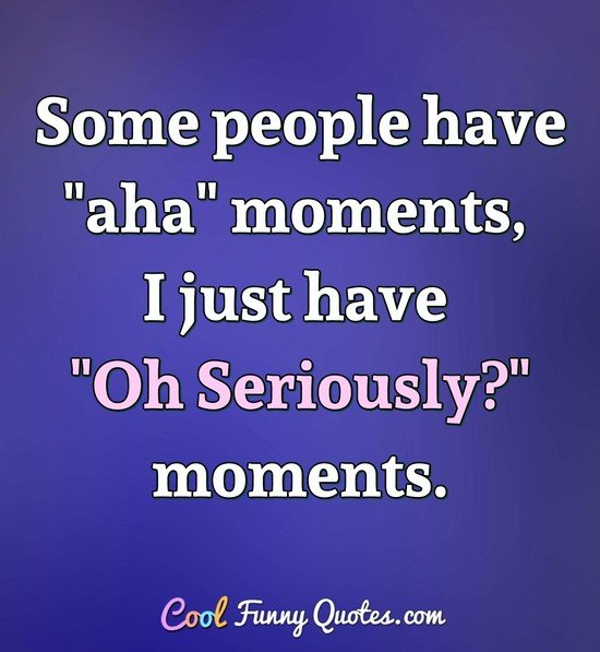 "Some people have ""aha"" moments, I just have ""Oh Seriously?"" moments. - Anonymous"
