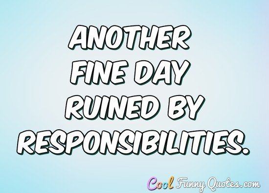 Another fine day ruined by responsibilities... - Anonymous
