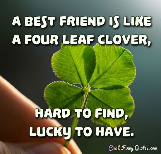 A best friend is like a four leaf clover, hard to find, lucky to have. - Anonymous