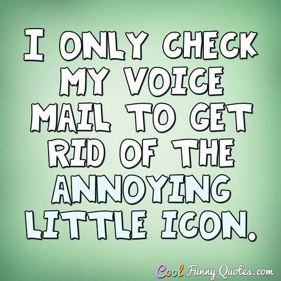 I only check my voice mail to get rid of the annoying little icon. - Anonymous