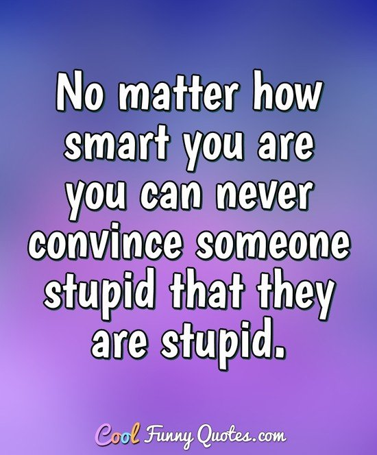No matter how smart you are you can never convince someone stupid that they are stupid.