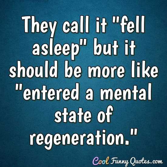 "They call it ""fell asleep"" but it should be more like ""entered a mental state of regeneration."" - Anonymous"