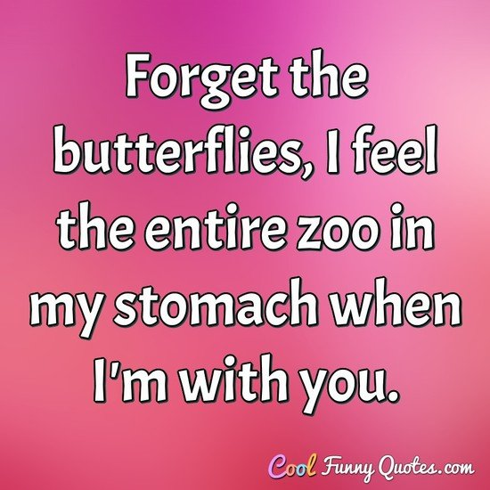 Forget the butterflies, I feel the entire zoo in my stomach when I'm with you. - Anonymous