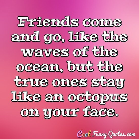Friends come and go, like the waves of the ocean, but the true ones stay like an octopus on your face. - Anonymous