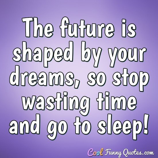 The future is shaped by your dreams, so stop wasting time and go to sleep!