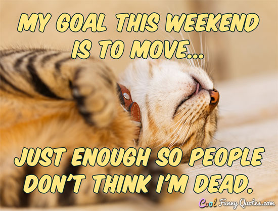 My goal this weekend is to move... just enough so people don't think I'm dead. - Anonymous