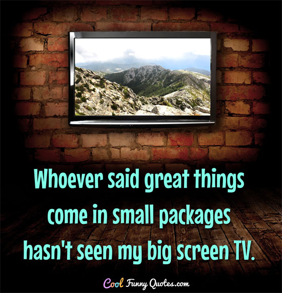 Whoever said great things come in small packages hasn't seen my big screen TV. - CoolFunnyQuotes.com