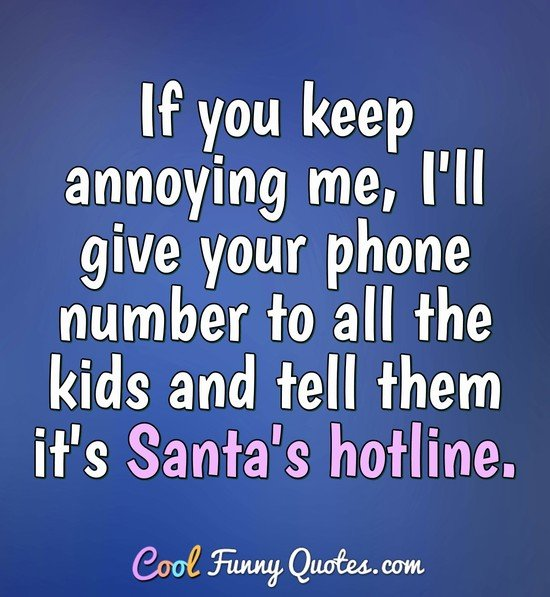 If you keep annoying me, I'll give your phone number to all the kids and tell them it's Santa's hotline. - Anonymous