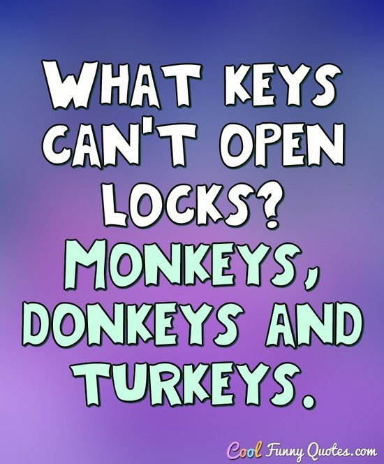What keys can't open locks? Monkeys, donkeys and turkeys. - Anonymous