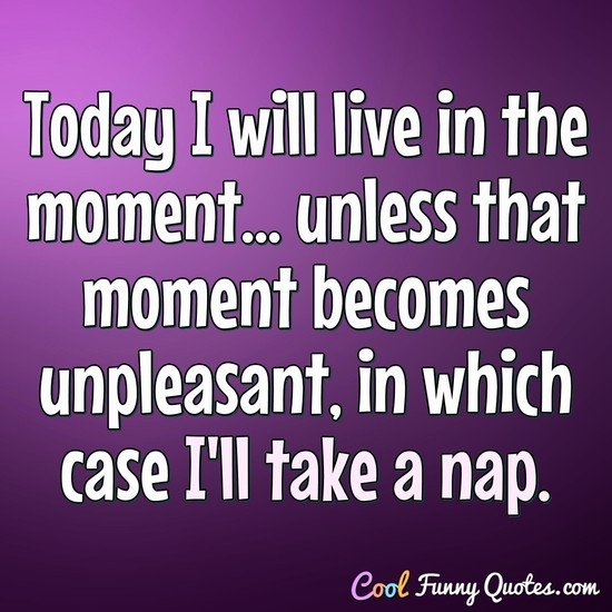 Today I will live in the moment... unless that moment becomes unpleasant, in which case I'll take a nap. - Anonymous
