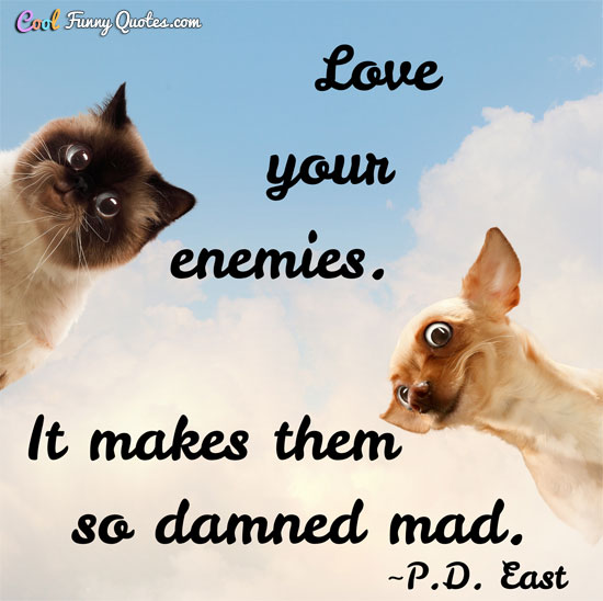 Love your enemies.  It makes them so damned mad.