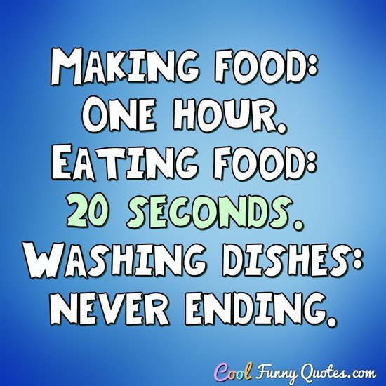 Making food: 1 hour. Eating food: 20 seconds. Washing dishes: never ending. - Anonymous