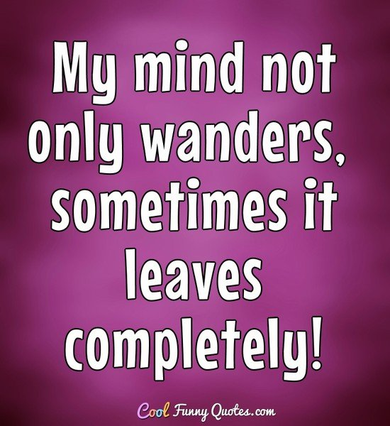 My mind not only wanders, sometimes it leaves completely! - Anonymous