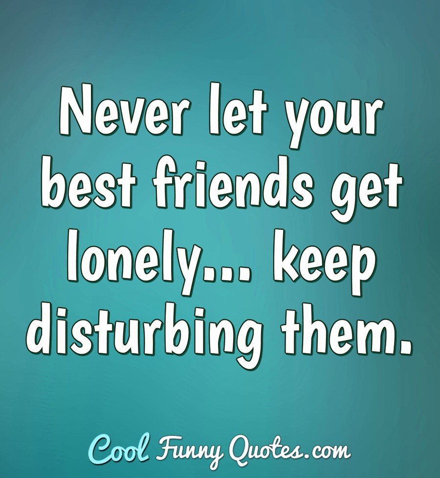Never let your best friends get lonely... keep disturbing them.