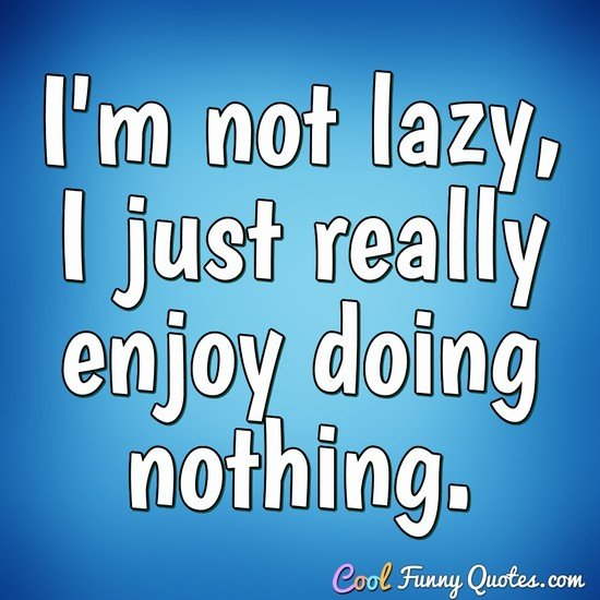 I'm not lazy, I just really enjoy doing nothing. - Anonymous