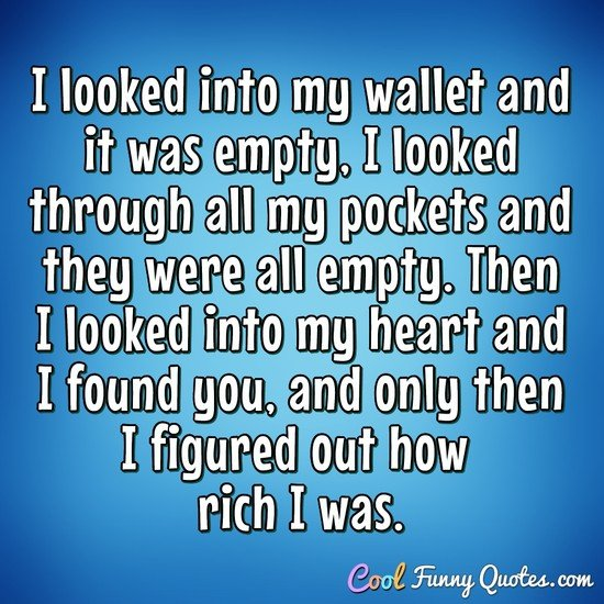 I looked into my wallet and it was empty, I looked through all my pockets and they were all empty.