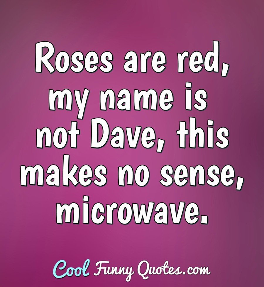 Roses are red, my name is not Dave, this makes no sense, microwave. - Anonymous