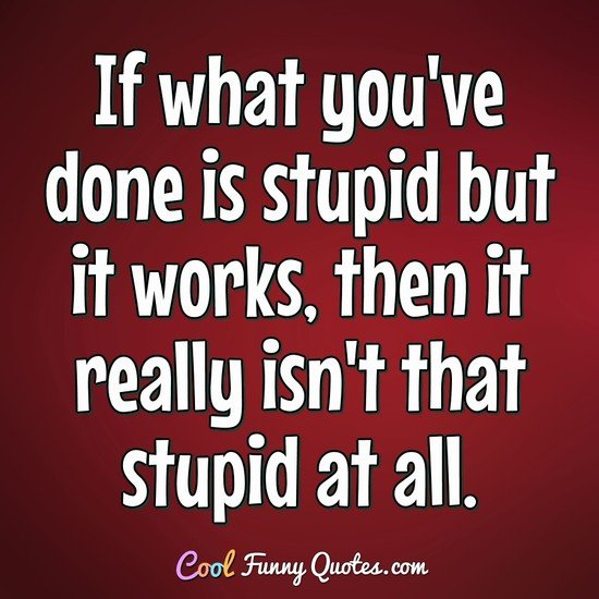 If what you've done is stupid but it works, then it really isn't that stupid at all. - David Letterman