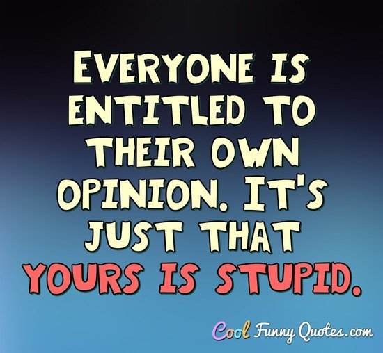 Everyone is entitled to their own opinion. It's just that yours is stupid. - Anonymous