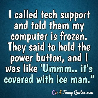 I called tech support and told them my computer is frozen.