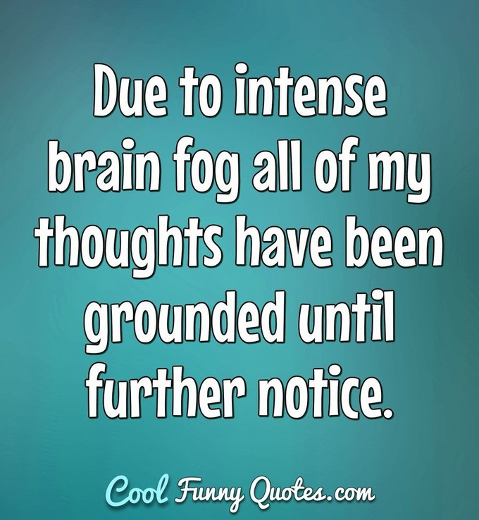 Due to intense brain fog all of my thoughts have been grounded until further notice. - Anonymous