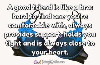 A good friend is like a bra: hard to find one you're comfortable with...