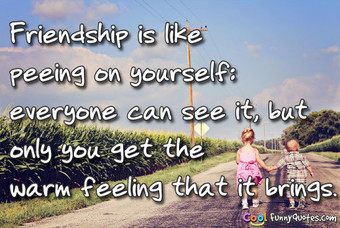 Friendship is like peeing on yourself.