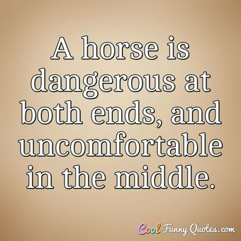 A horse is dangerous at both ends, and uncomfortable in the middle.
