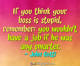 When my boss asked me who is the stupid one, me or him? I ...