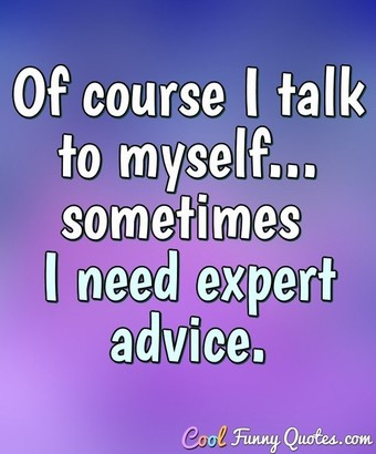 Of course I talk to myself... sometimes I need expert advice. - Anonymous