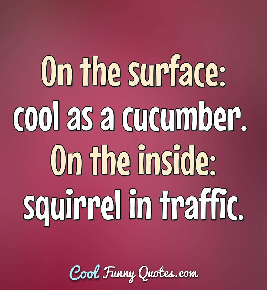 On the surface: cool as a cucumber. On the inside: squirrel in traffic. - Anonymous