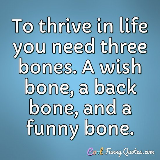 To thrive in life you need three bones. A wish bone, a back bone, and a funny bone. - Reba McEntire