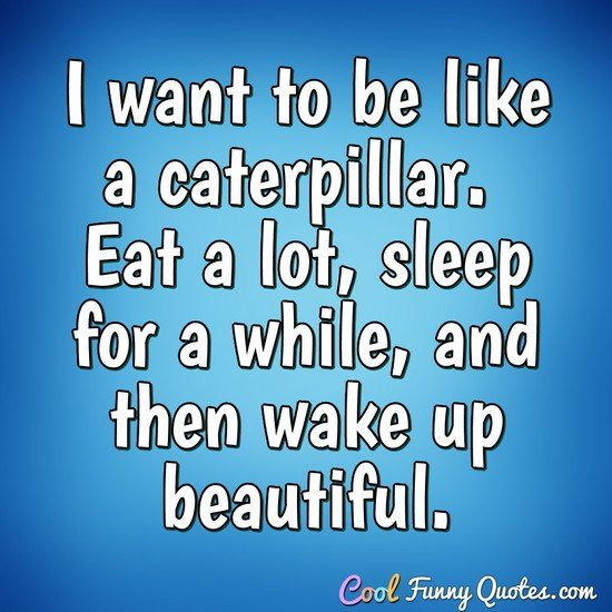 I want to be like a caterpillar.  Eat a lot, sleep for a while, and then wake up beautiful. - Anonymous