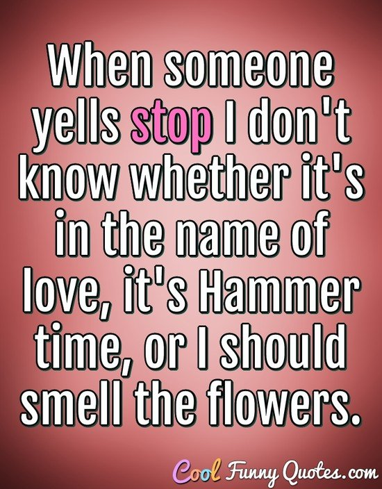 When someone yells stop I don't know whether it's in the name of love, it's Hammer time, or I should smell the flowers. - Anonymous